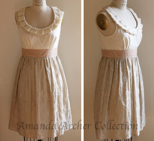 Amanda Archer for Etsy, Flowers and Cream Pleated Dress