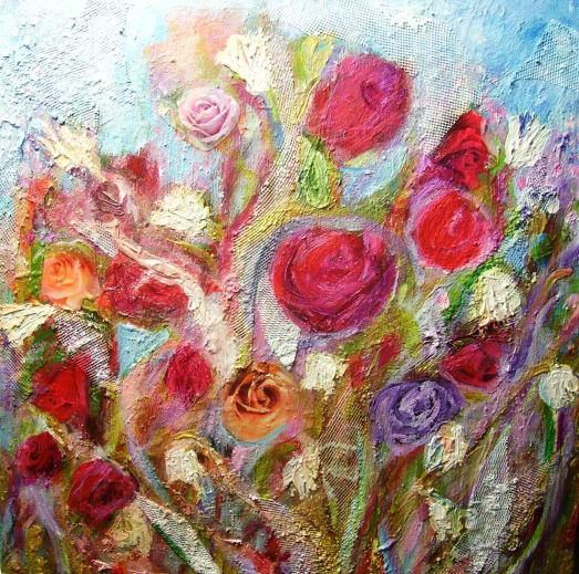 "Tess Farnham ""Ode to a Rose"" 12x12, mixed media on cradled birch"